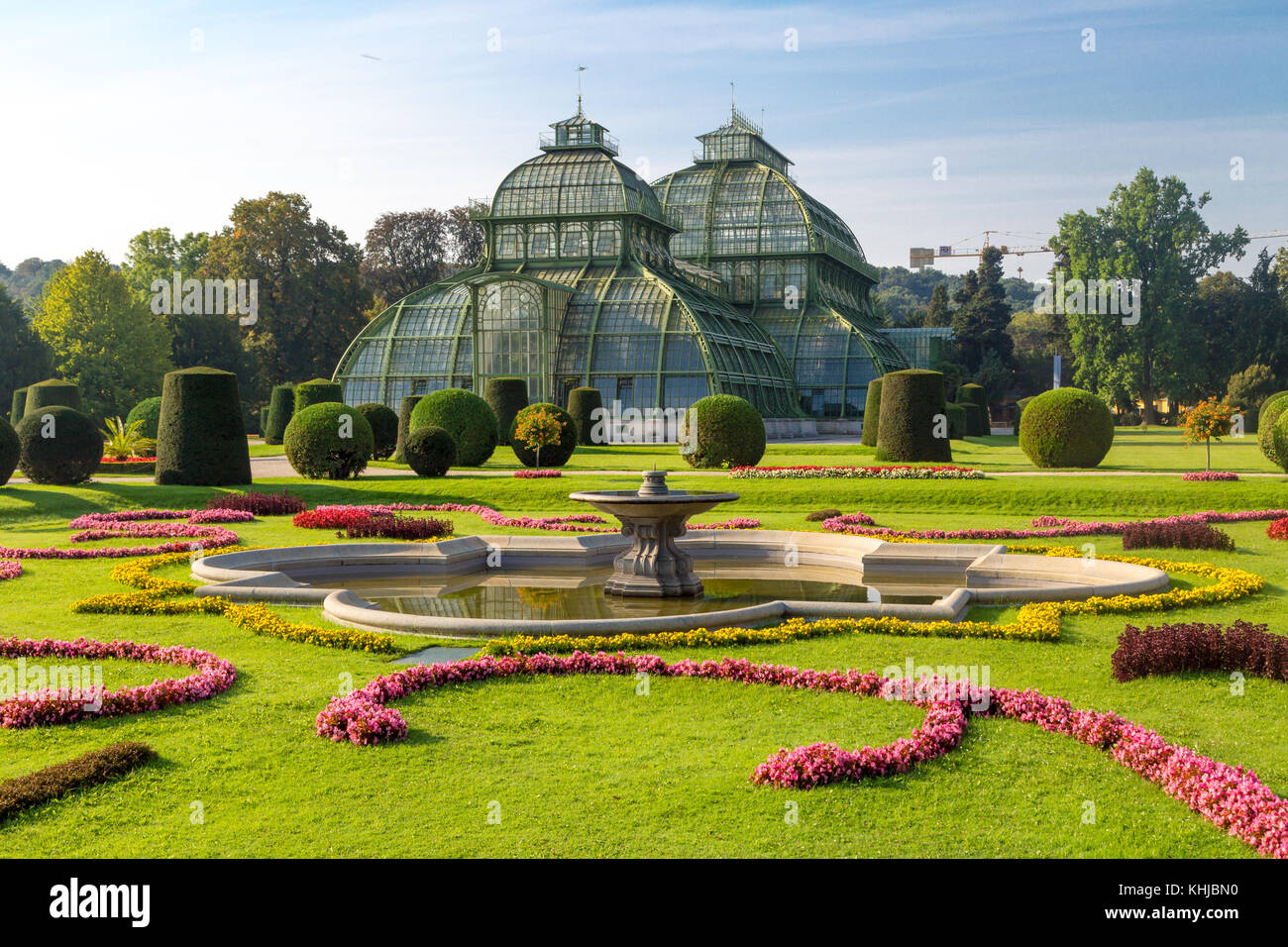VIENNA, AUSTRIA - SEPTEMBER 11, 2016 : View of Palm House in Schönbrunn Palace Garden in Vienna, on bright - Stock Image