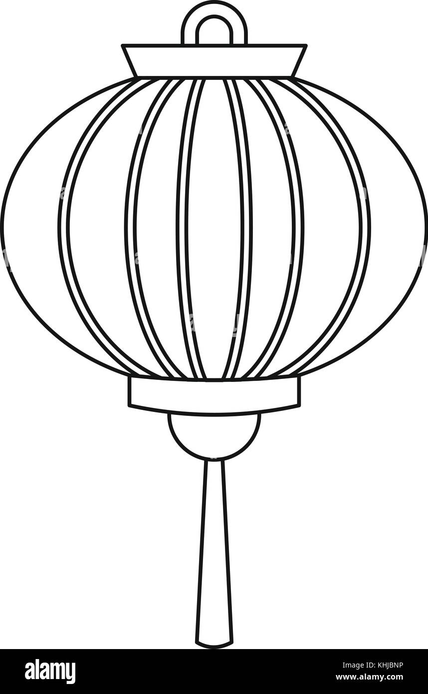 Chinese new year lantern icon, outline style - Stock Image