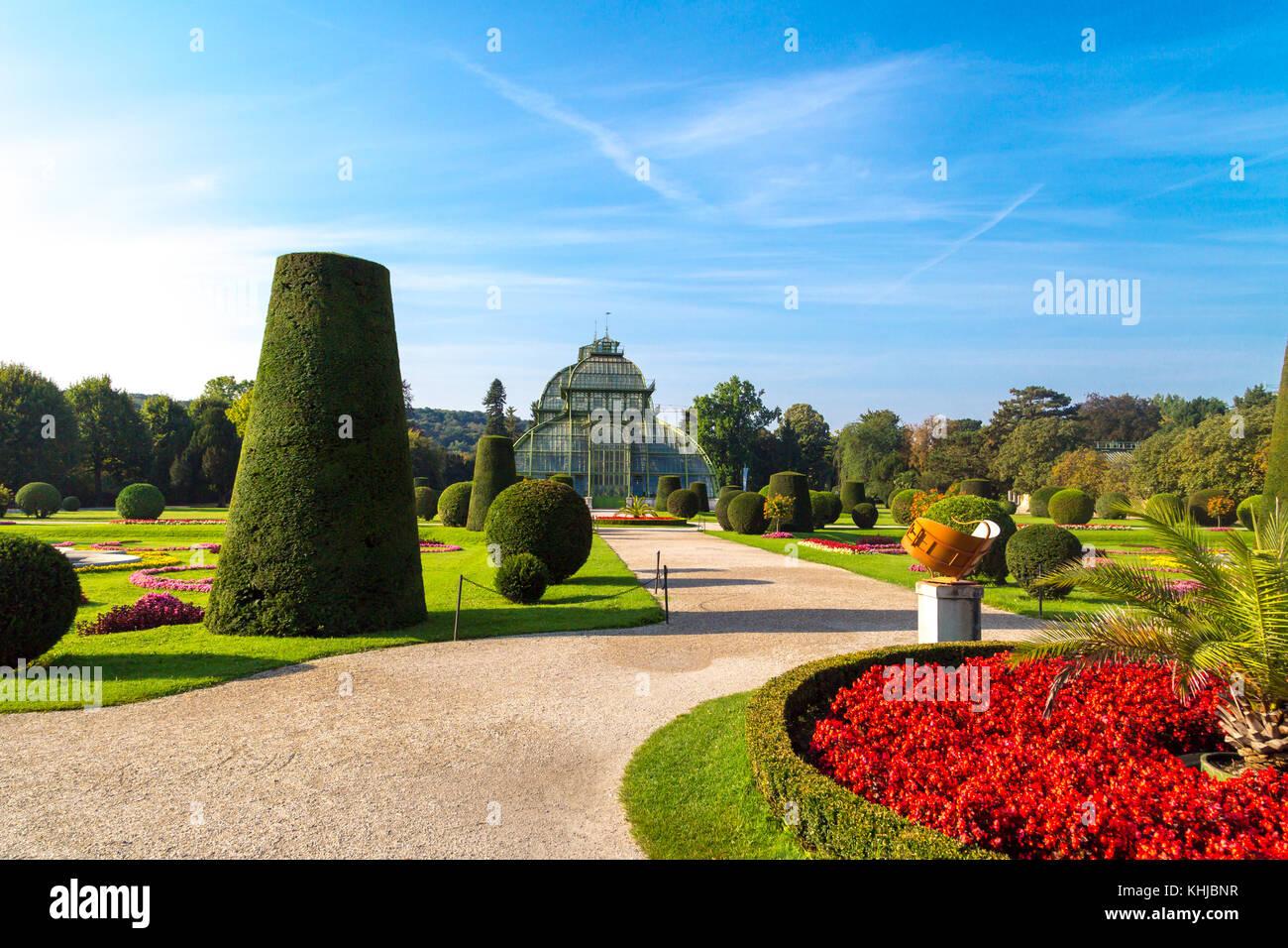VIENNA, AUSTRIA - SEPTEMBER 11, 2016 : View of Palm House in Schönbrunn Palace Garden in Vienna, on bright - Stock Image