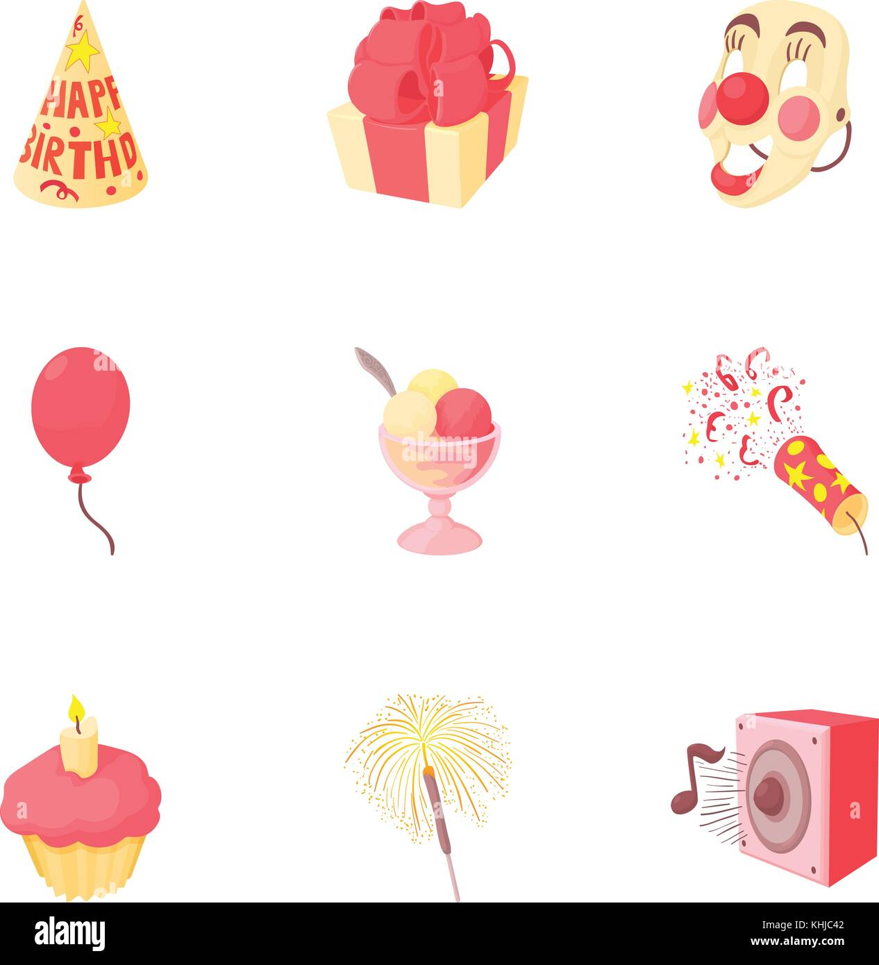 Birthday party icons set, cartoon style - Stock Vector