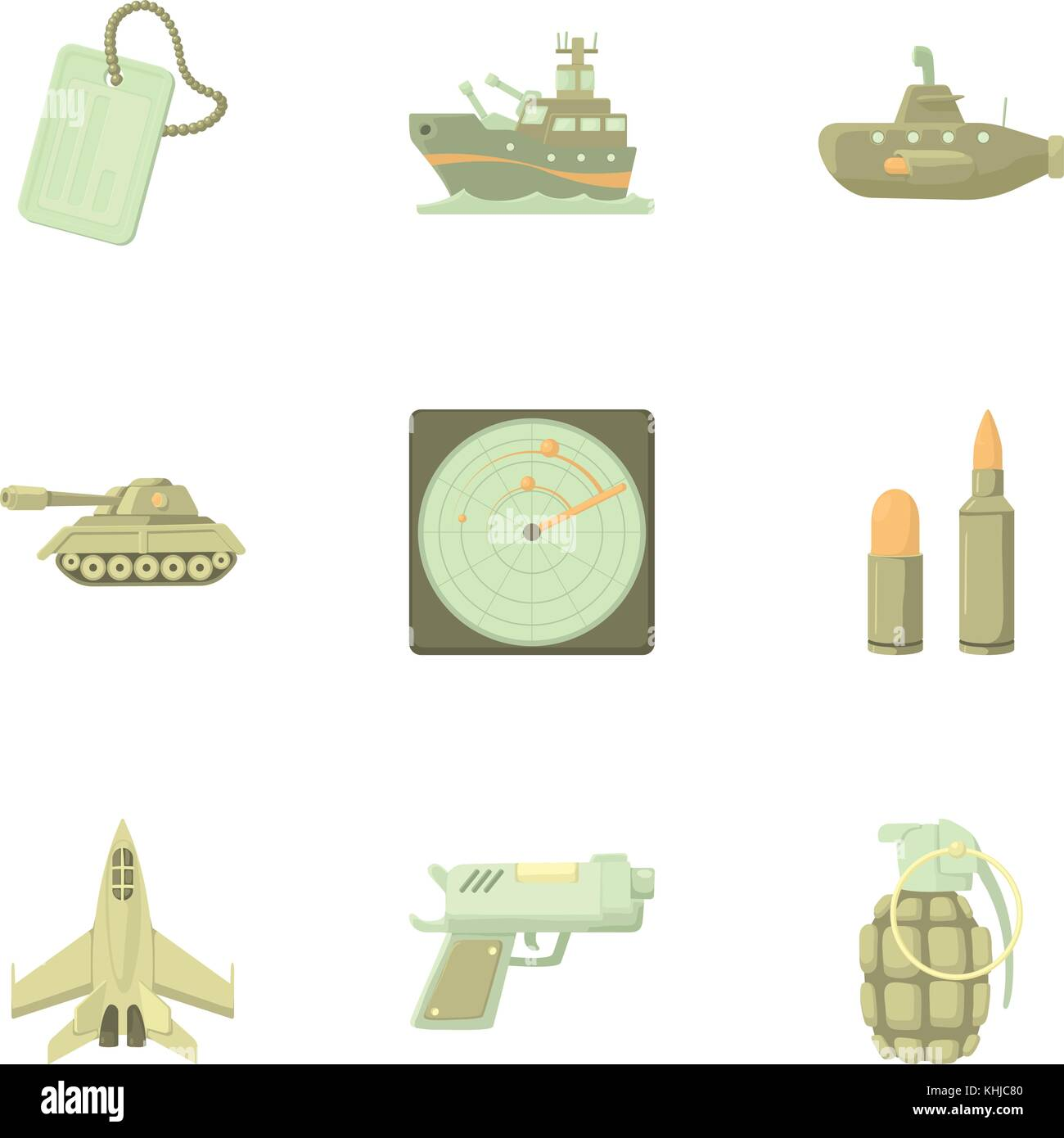 Weaponry icons set, cartoon style - Stock Image
