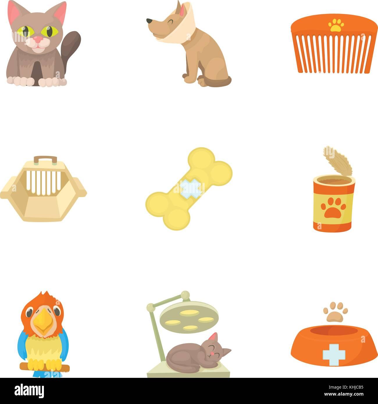 Veterinary icons set, cartoon style - Stock Vector