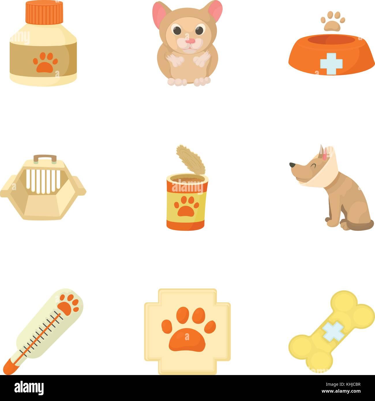 Veterinary animals icons set, cartoon style - Stock Vector