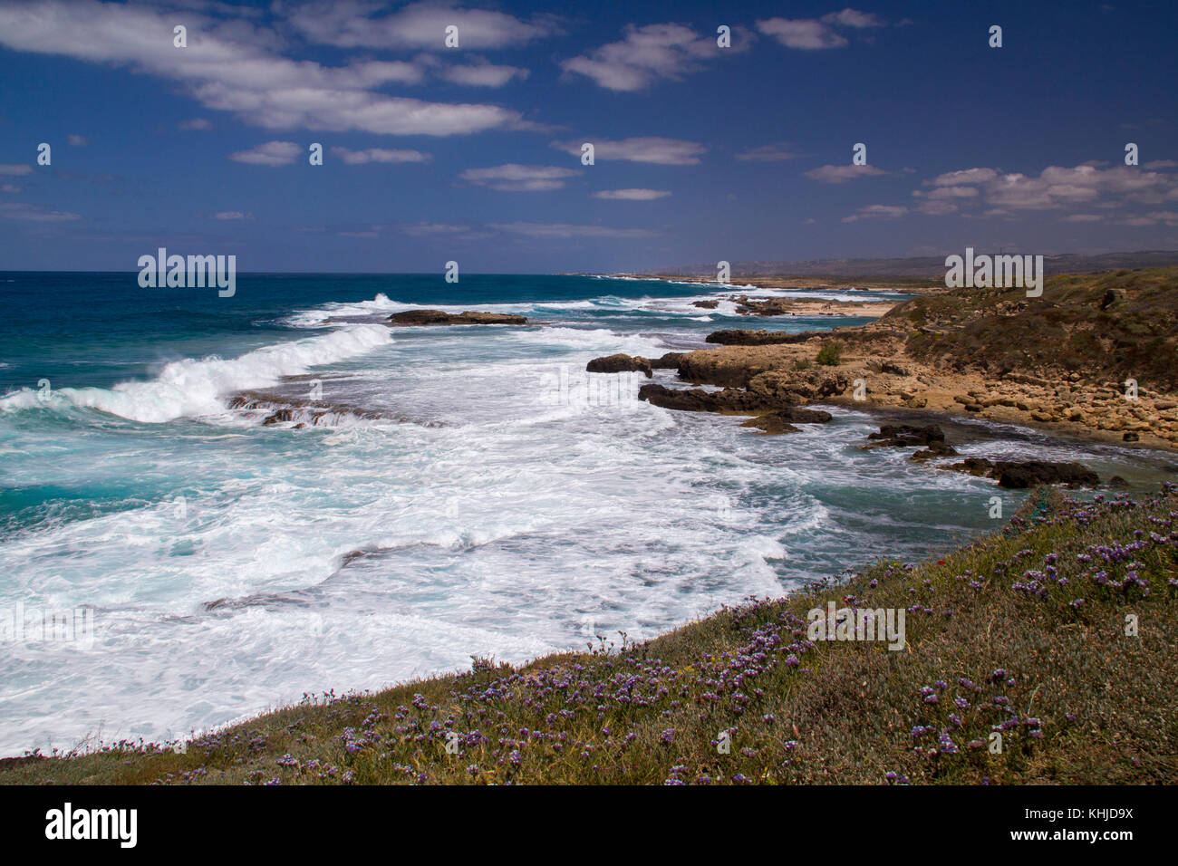 View to Mediterranean sea from the coast and Roman period Ruins.Dor Coast Israel - Stock Image