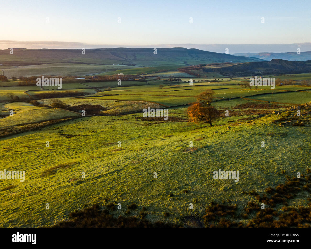 Beautiful aerial shots of sunrise in the Wharfe Valley, North Yorkshire - Stock Image
