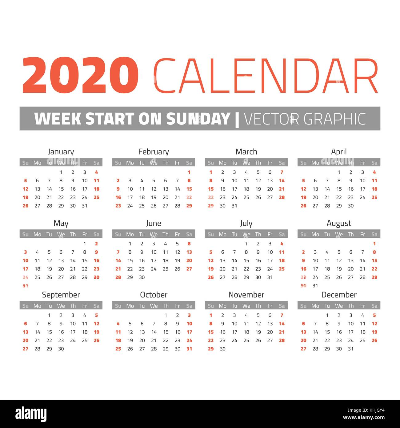 Weeks Of The Year Calendar 2020 Simple 2020 year calendar. Weeks start on sunday Stock Vector Art