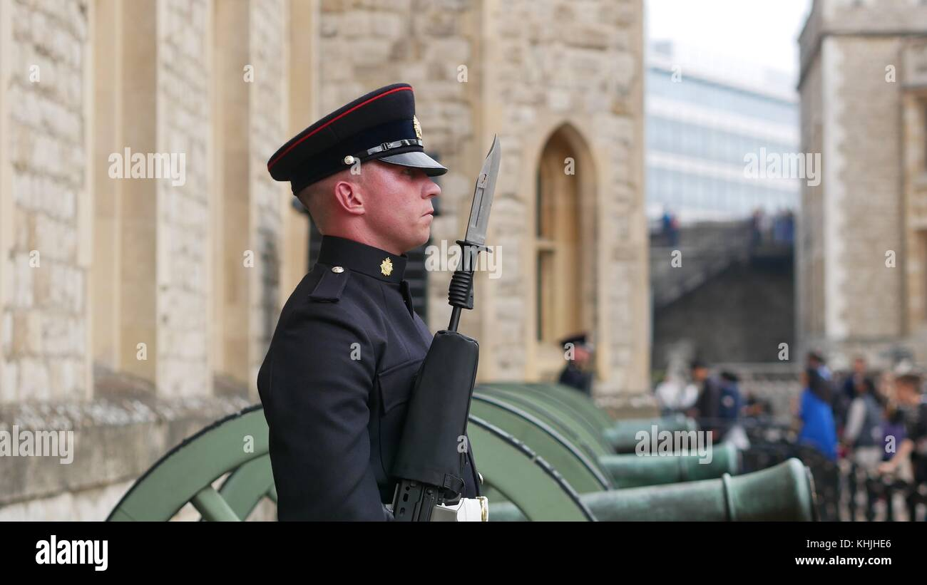 Guard at Tower of London - Stock Image