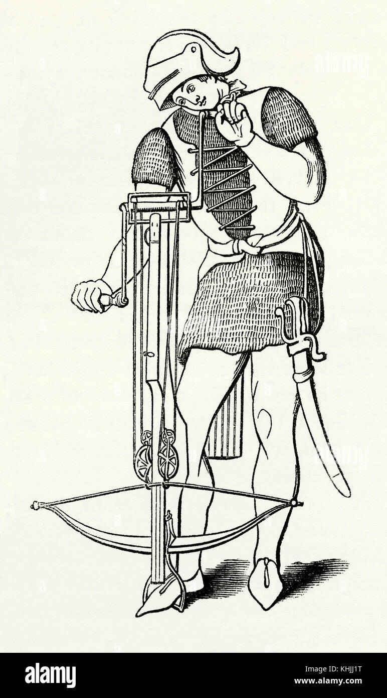 An old engraving depicting an archer winding up his crossbow in Medieval  times - Stock Image