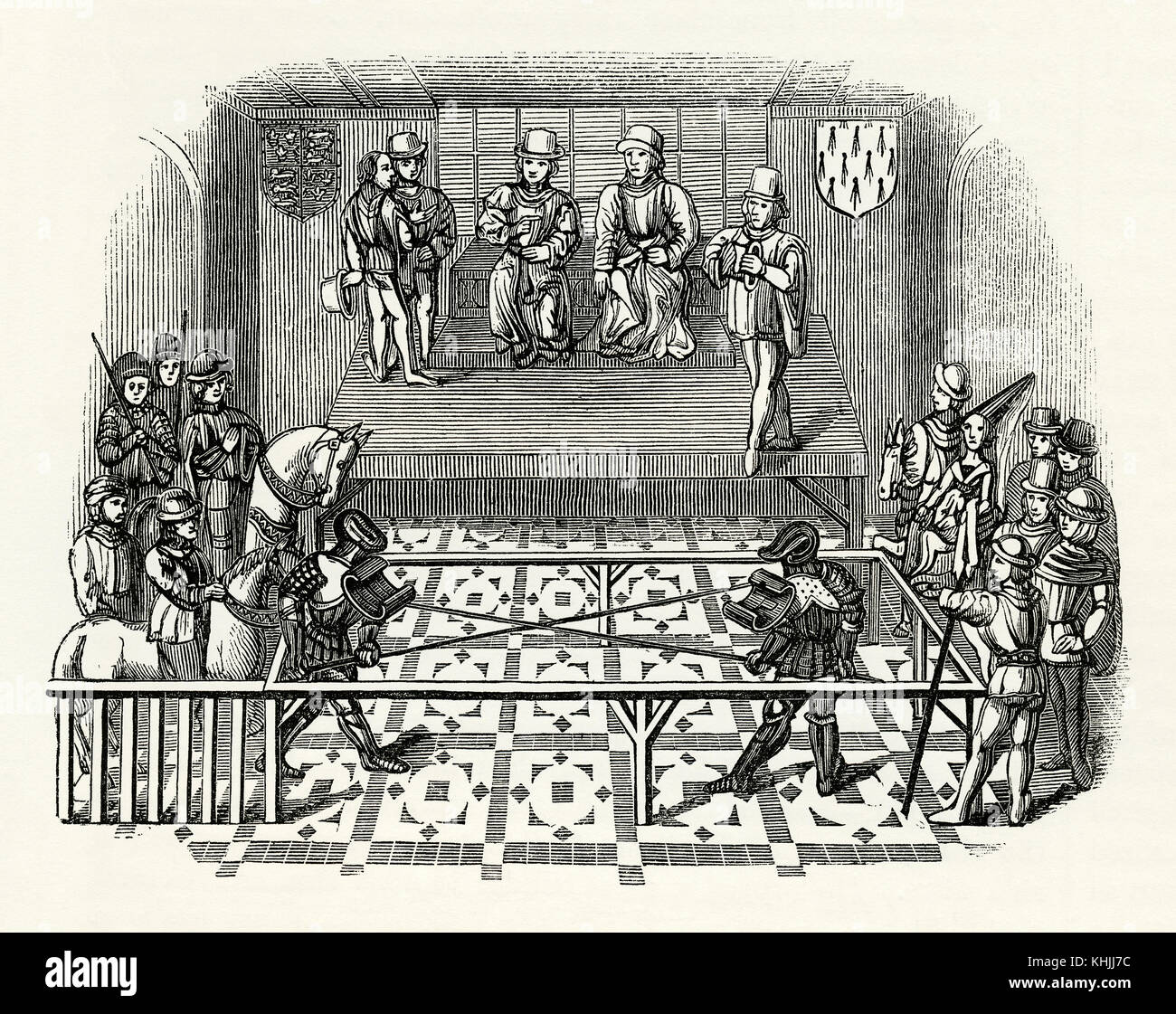 An old engraving depicting two knights in a tilting contest in Medieval times. Jousting on horseback fell from popularity Stock Photo