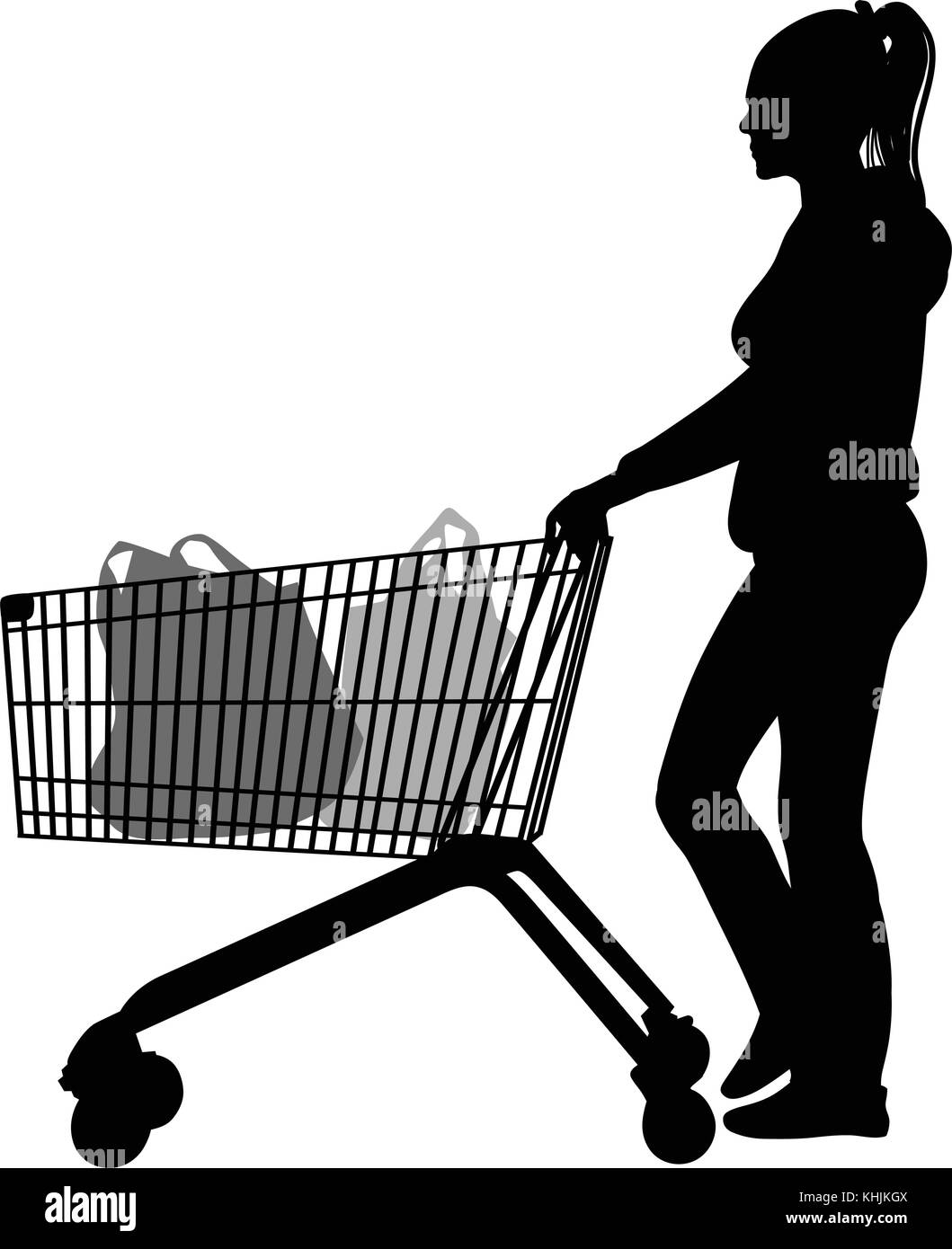 Silhouettes of woman with shopping trolleys - vector - Stock Vector