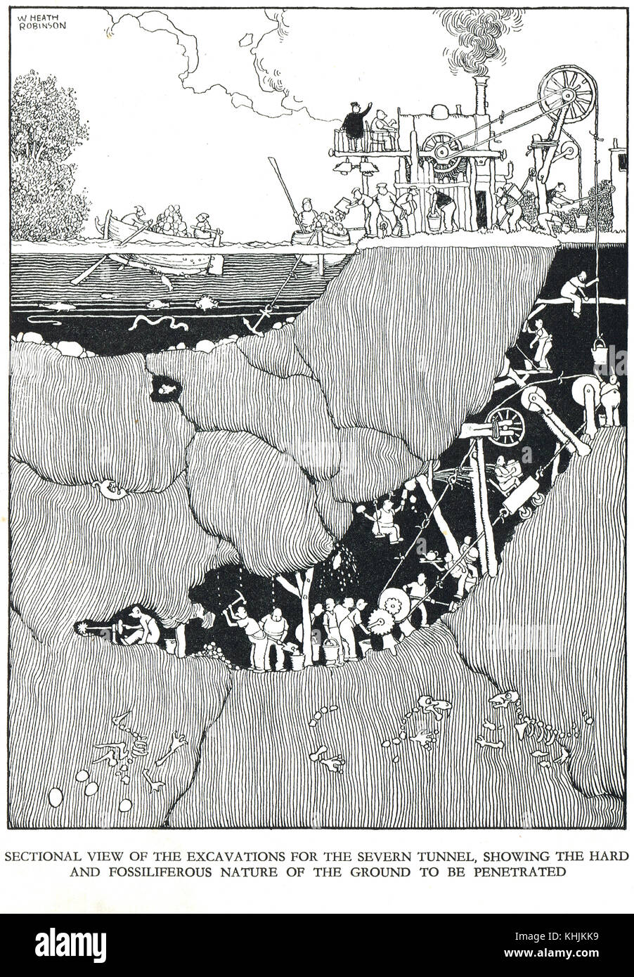 Excavating the Severn Railway Tunnel, Cartoon by William Heath Robinson - Stock Image