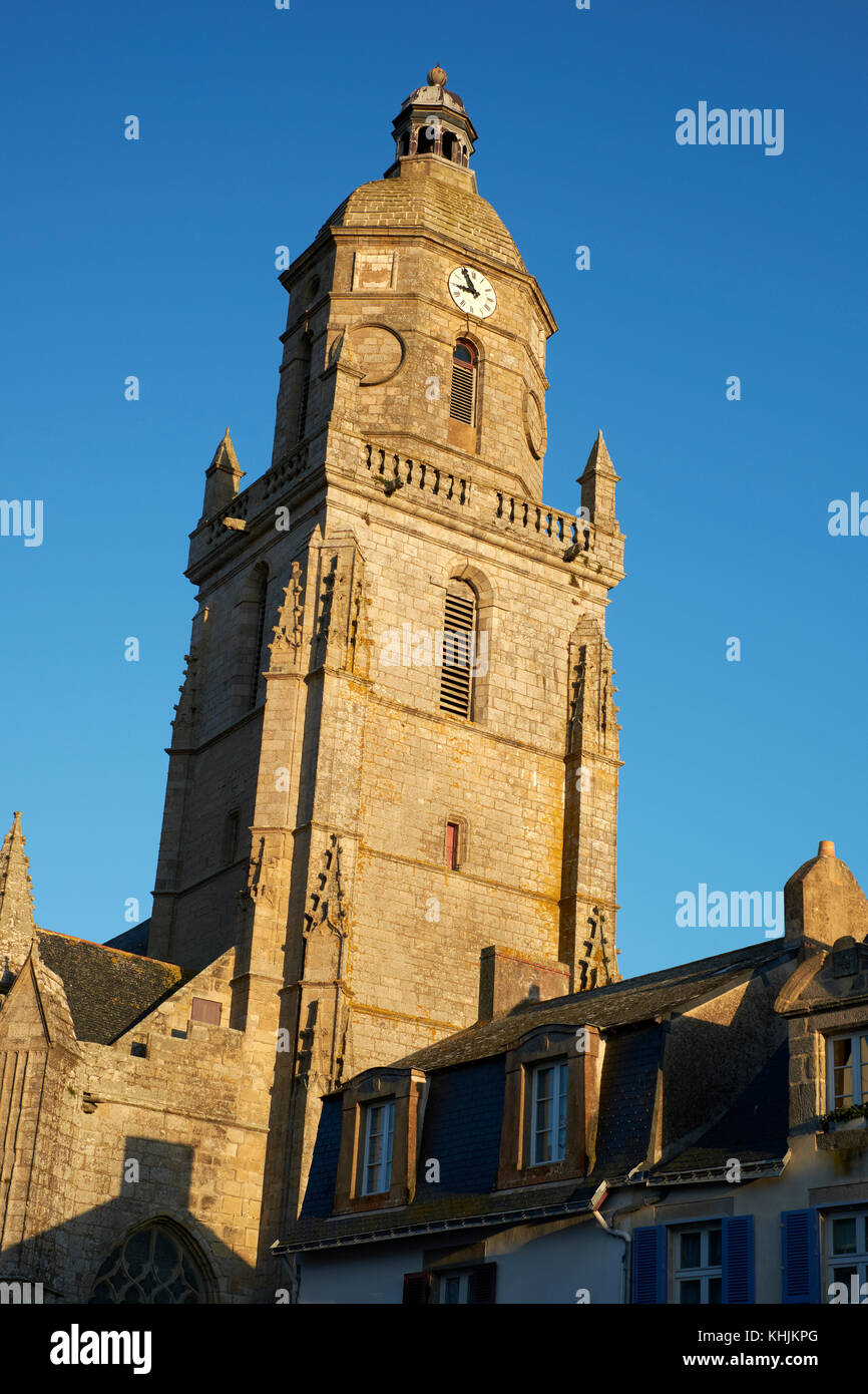 The bell tower of the Notre Dame de Pitie church in Le Croisic on the Guerande Peninsula in the Loire-Atlantic region Stock Photo