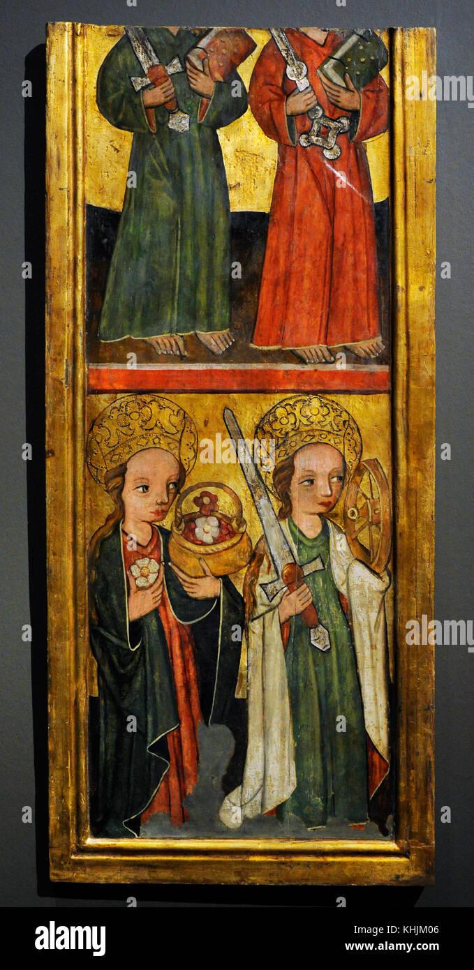 Saint Peter, Saint Paul, Saint Dorothy and Saint Catherine, ca. 1440-1450. Tempera on hardboard. Przyszowice, Poland. - Stock Image