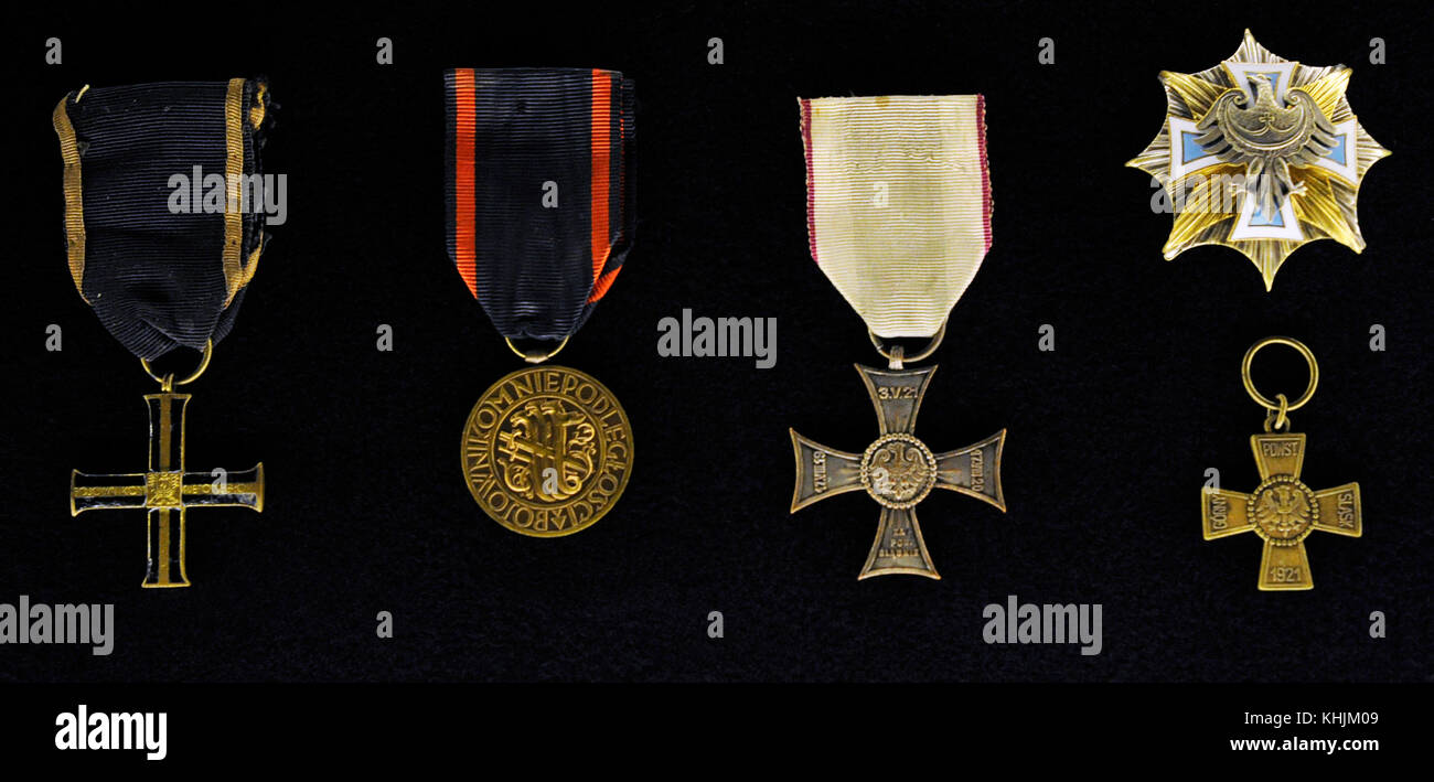 Interwar Period. From left to right: Cross of Independence, Poland; Medal of Independence, Poland; Cross with Silesian - Stock Image