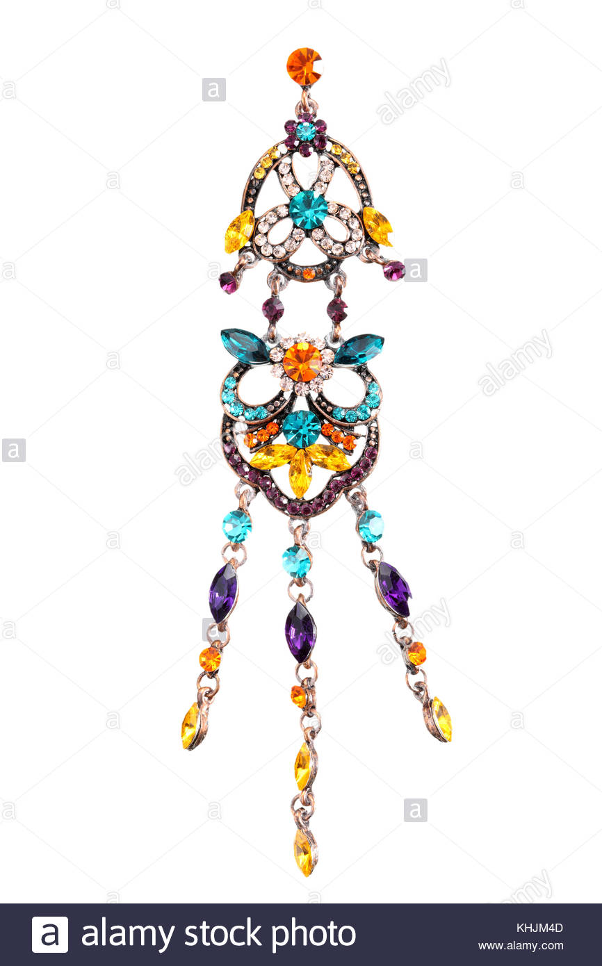 sophisticated precious costume jewelry earring isolated on white background and clipping path - Stock Image