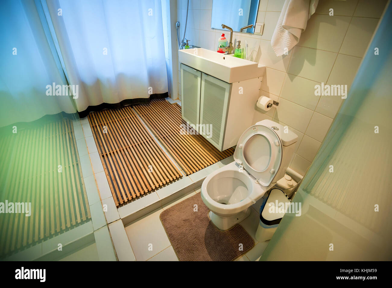 Modern bathroom interior with toilet and shower Stock Photo