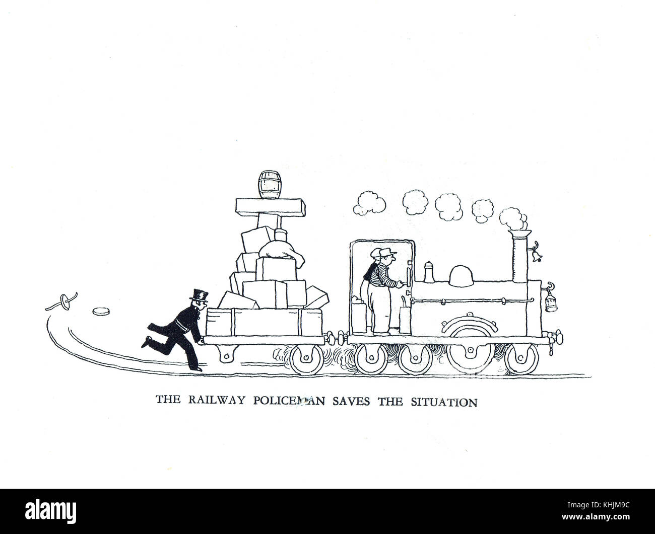 Railway Policeman saves the situation, Cartoon by William Heath Robinson - Stock Image