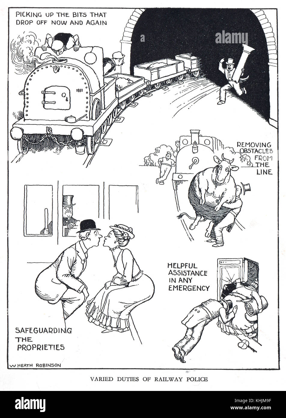 Varied Duties of Railway Police, Cartoon by William Heath Robinson - Stock Image