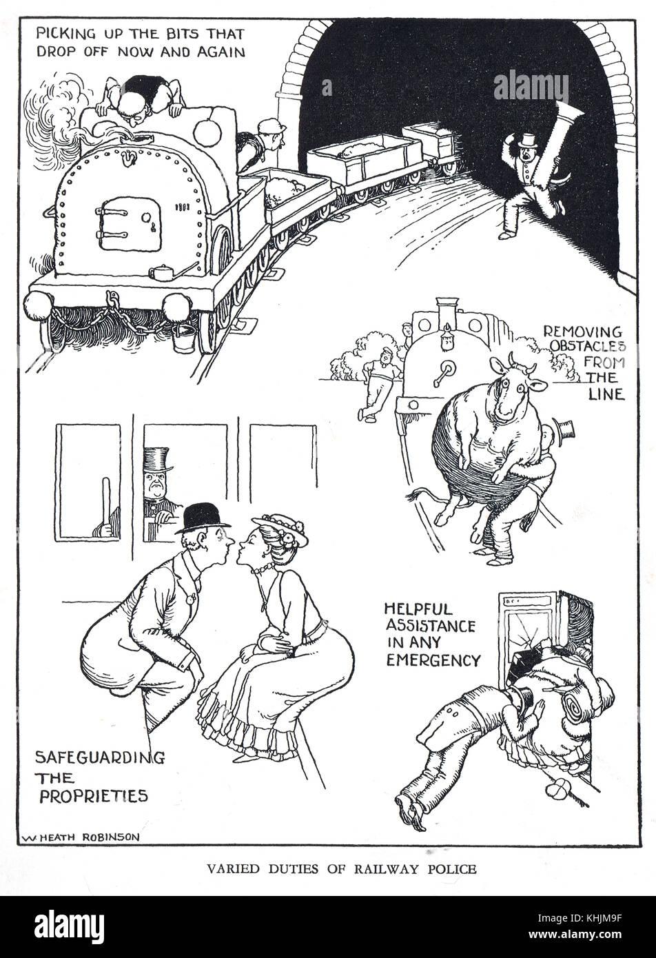 Varied Duties of Railway Police, Cartoon by William Heath Robinson Stock Photo