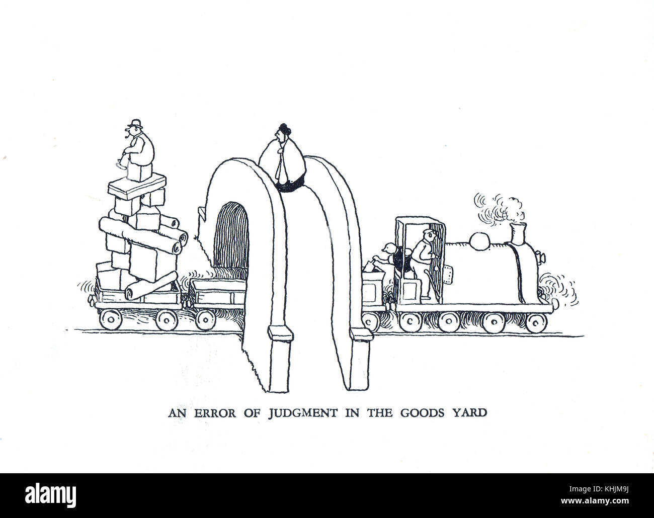 An error of judgment in the Goods yard, Cartoon by William Heath Robinson Stock Photo
