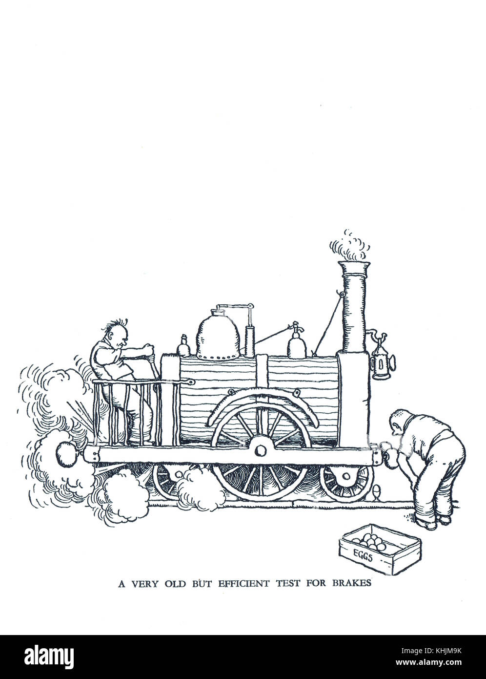 A Very old but efficient test for brakes, Cartoon by William Heath Robinson - Stock Image