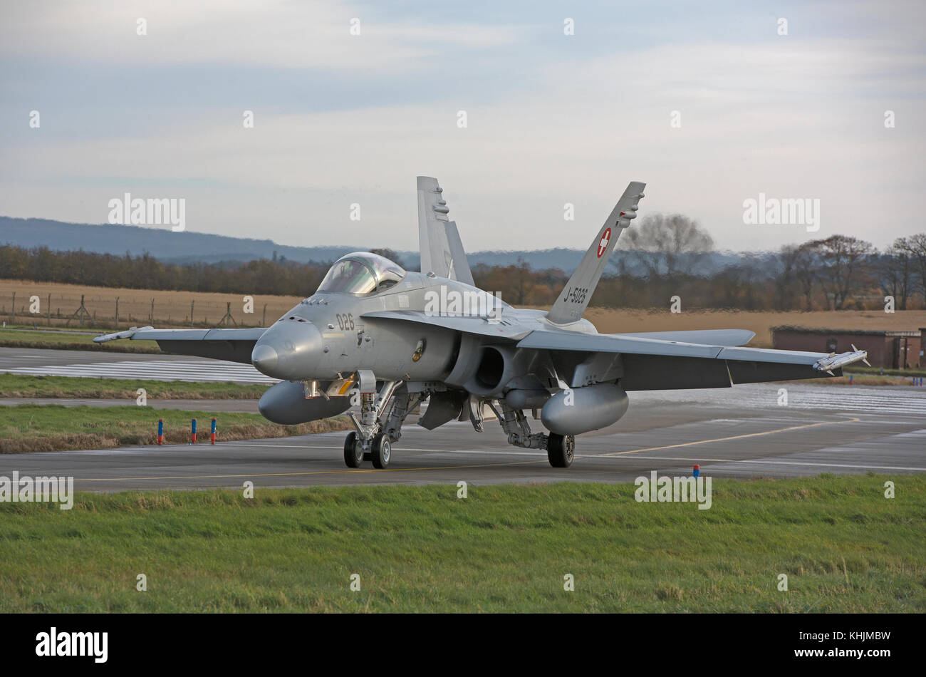 Swiss Air Force McDonnell Douglas F/A18C aircraft on 4 week exercise at RAF Lossiemouth Scotland. Stock Photo