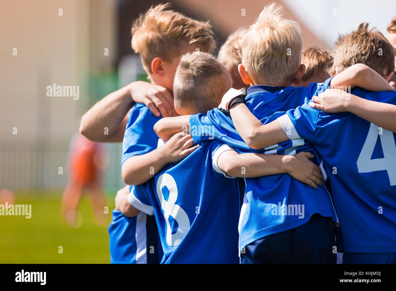 Kids Play Sports. Children Sports Team United Ready to Play Game. Children Team Sport. Youth Sports For Children. - Stock Image