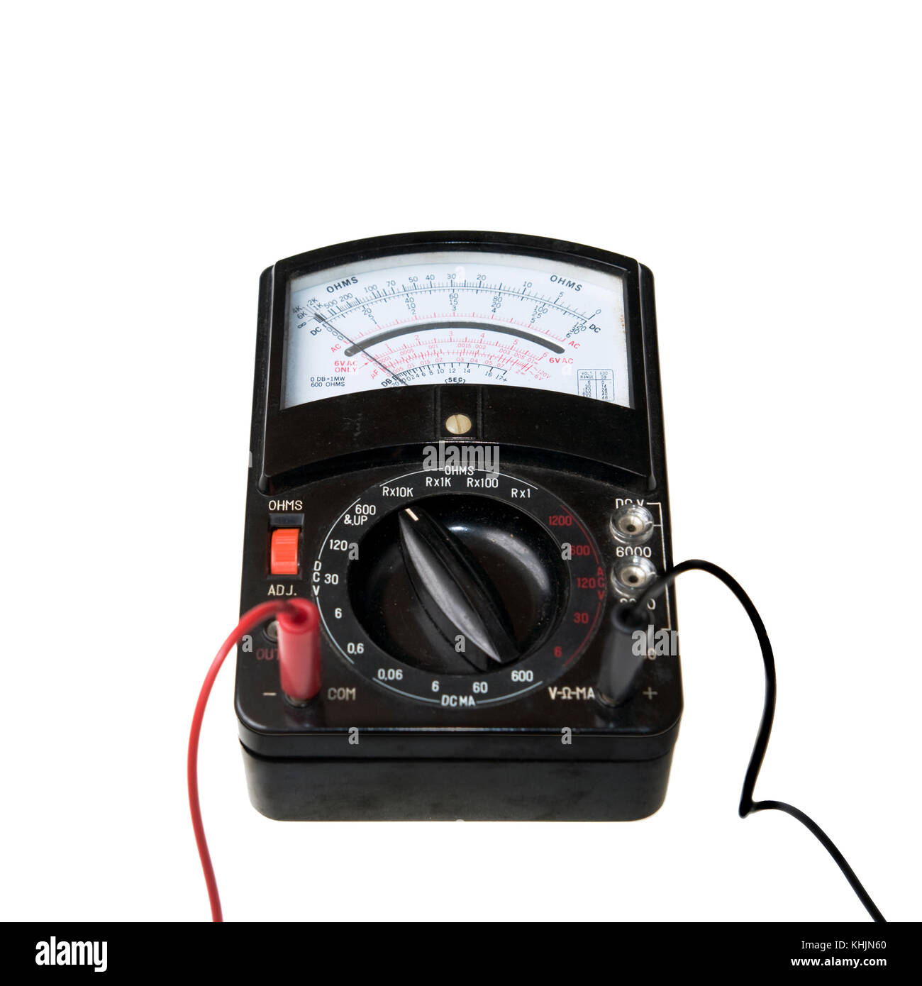 Analog multimeter being used as a voltmeter - Stock Image