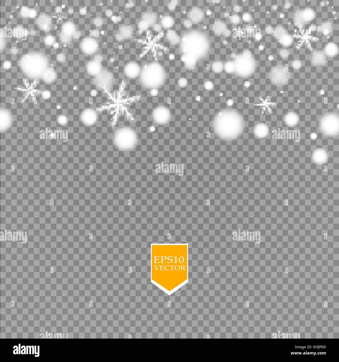 Shine white snowflake with glitter isolated on transparent background. Christmas decoration with shining sparkling - Stock Image