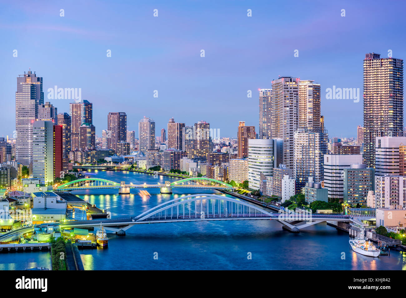 Tokyo, Japan cityscape on the Sumida River. - Stock Image