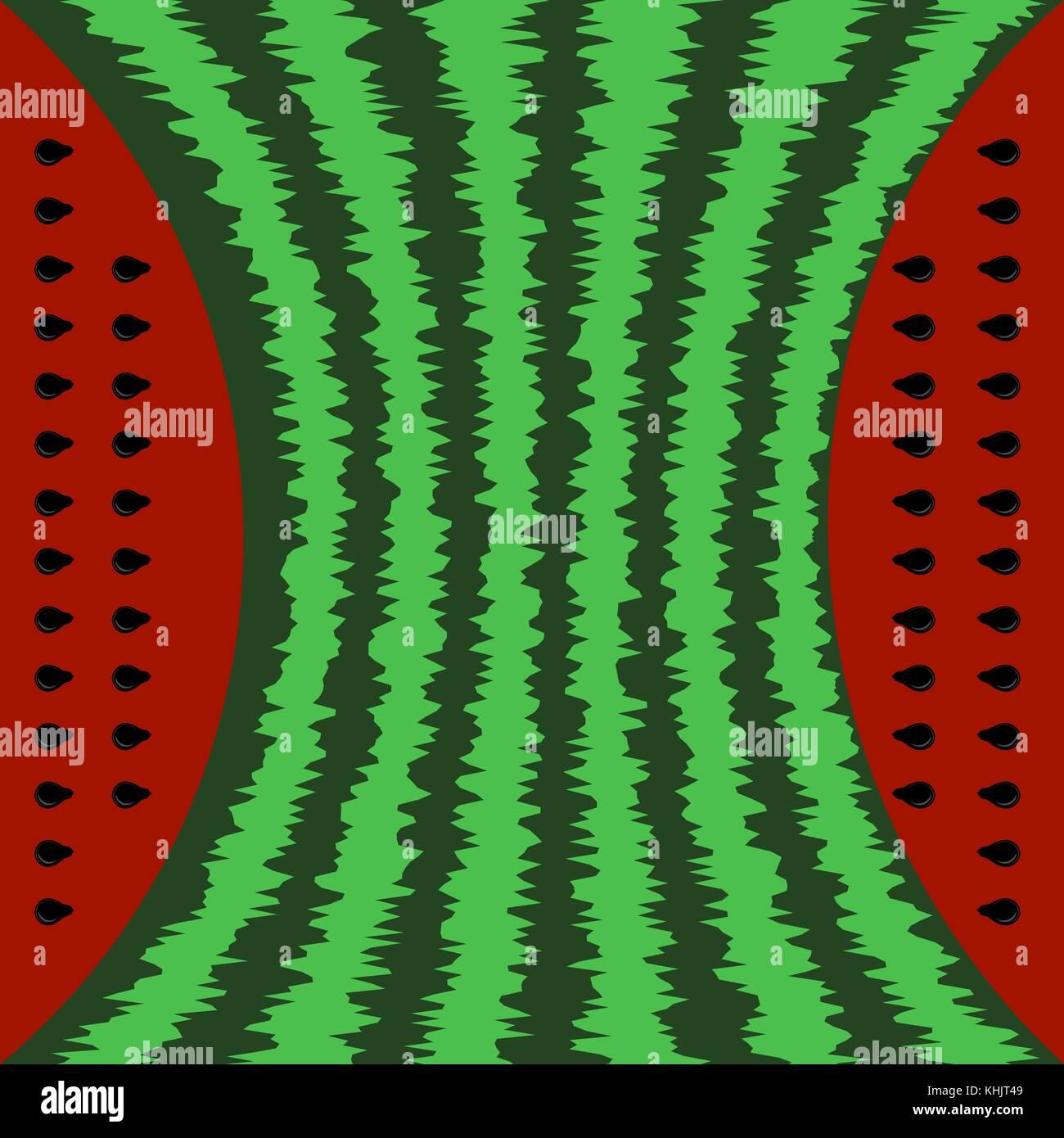 Fresh Slaced Ripe Watermelon on Seeds Background - Stock Image