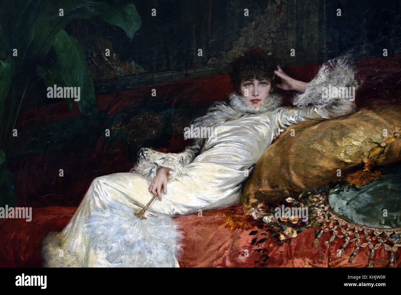 Portrait of Sarah Bernhardt 1876 Georges Clairin 1843 - 1919  French, France. ( Portrait of Mlle Sarah Bernhardt, - Stock Image