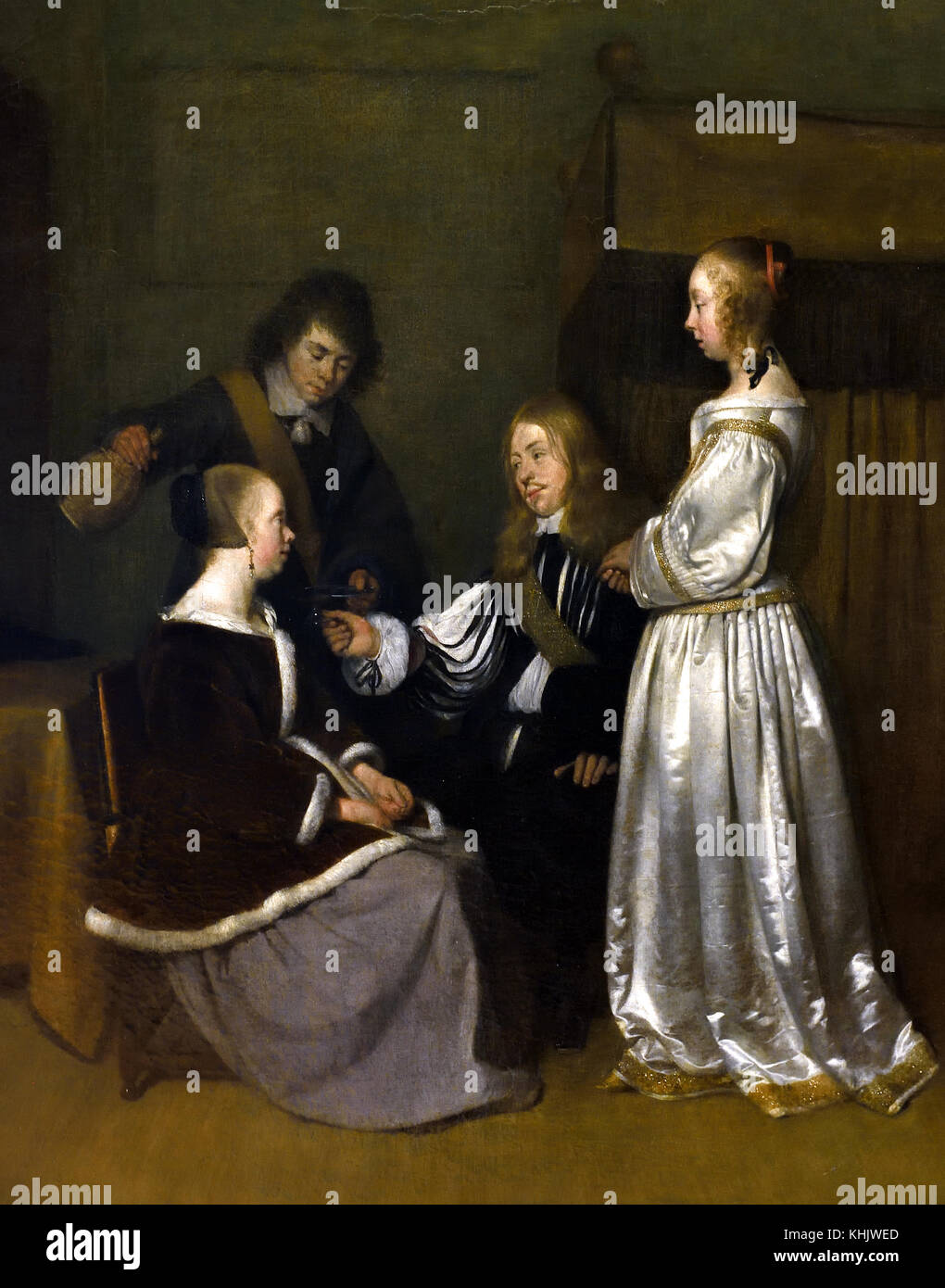 Gallant conservation 1652 Gerard ter Borch 1617-1681 Dutch The Netherlands - Stock Image
