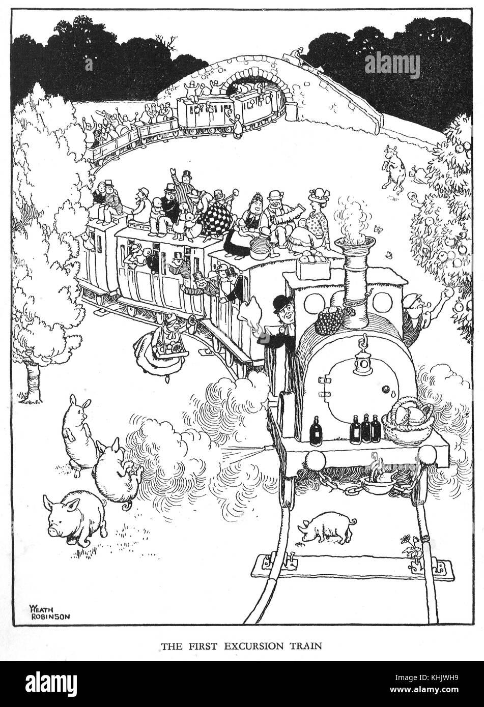 the first excursion train cartoon by william heath robinson stock