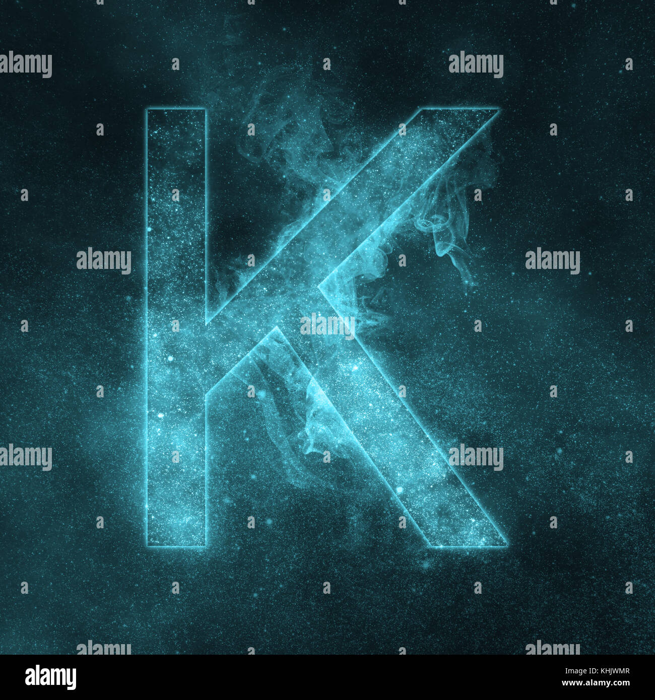 Letter K alphabet symbol. Space Letter, Night Sky Letter. - Stock Image