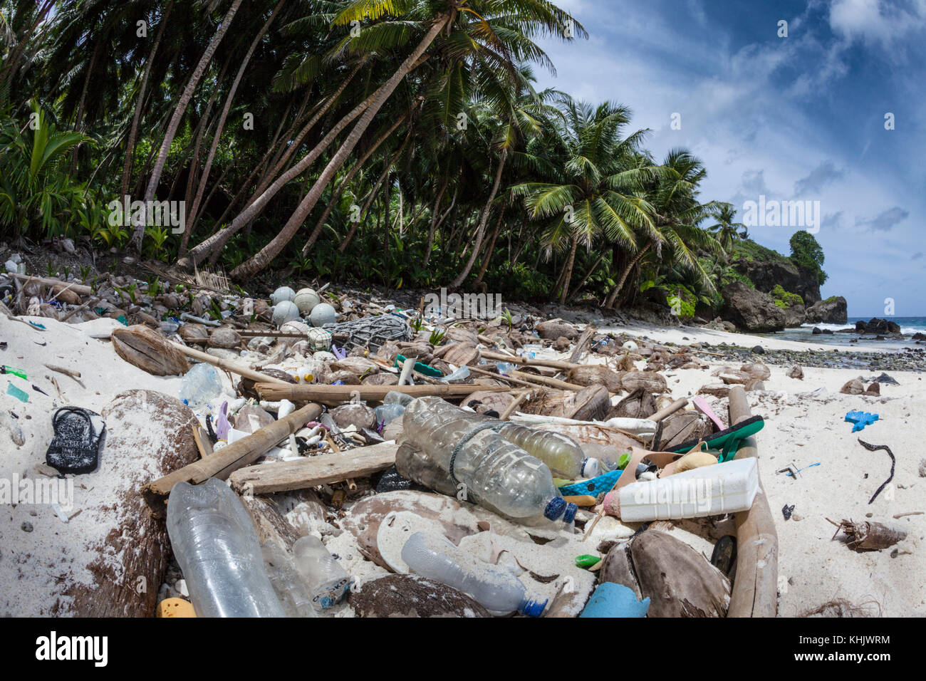 Plastic Waste washed up at Dolly Beach, Christmas Island, Australia - Stock Image