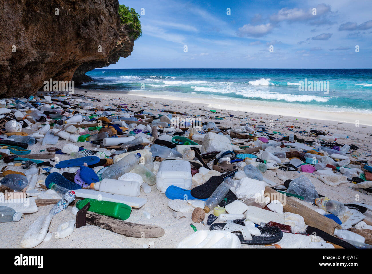 plastic waste washed up at greta beach christmas island australia stock image
