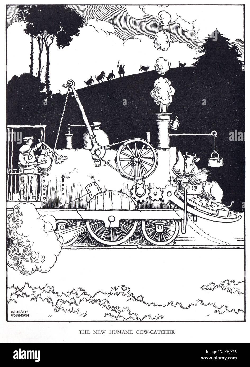 The new Humane Cow Catcher, Cartoon by William Heath Robinson - Stock Image