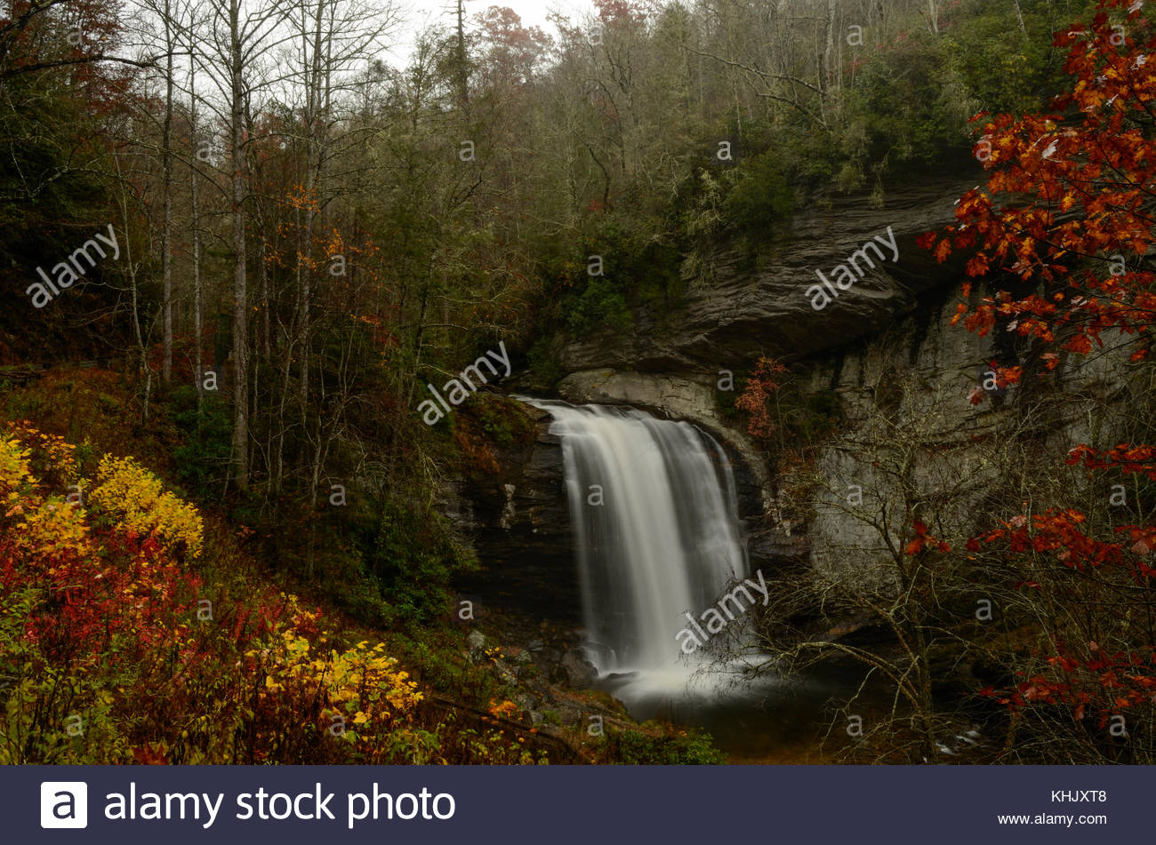 Looking Glass Falls - a Cascade west of Asheville North Carolina near Brevard NC. One of the most famous waterfalls - Stock Image