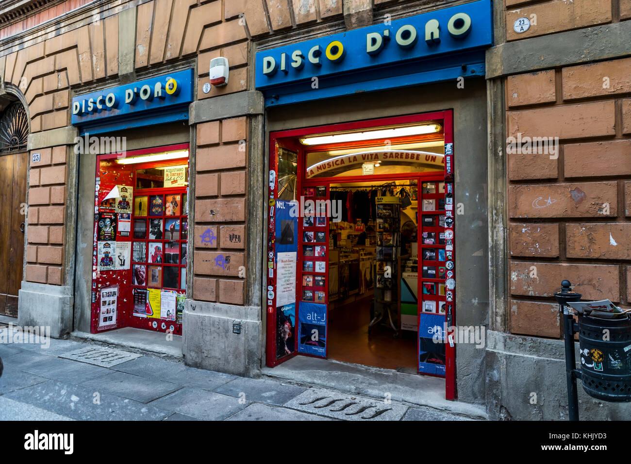 Vinyl record shop Disco D'Ora, Bologna, Italy Stock Photo