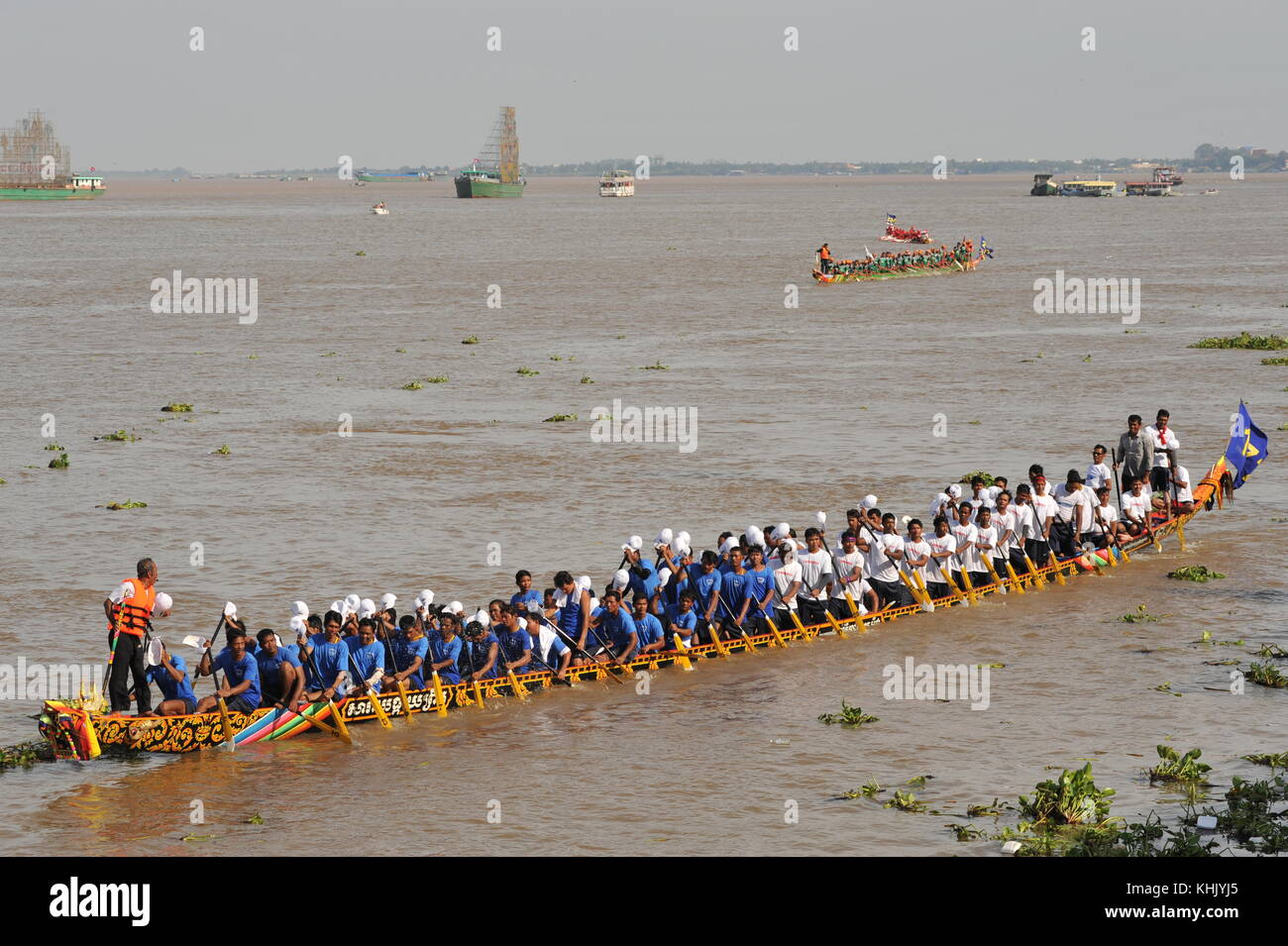 Phnom Penh celebrates Bon Om Touk, The Cambodian Water Festival, w/ longboat racing on The Tonle Sap River. credit: - Stock Image