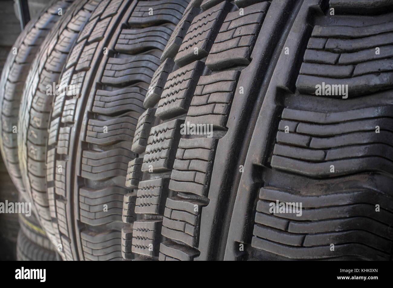 Detail of used or part worn tyres for sell. Closeup - Stock Image