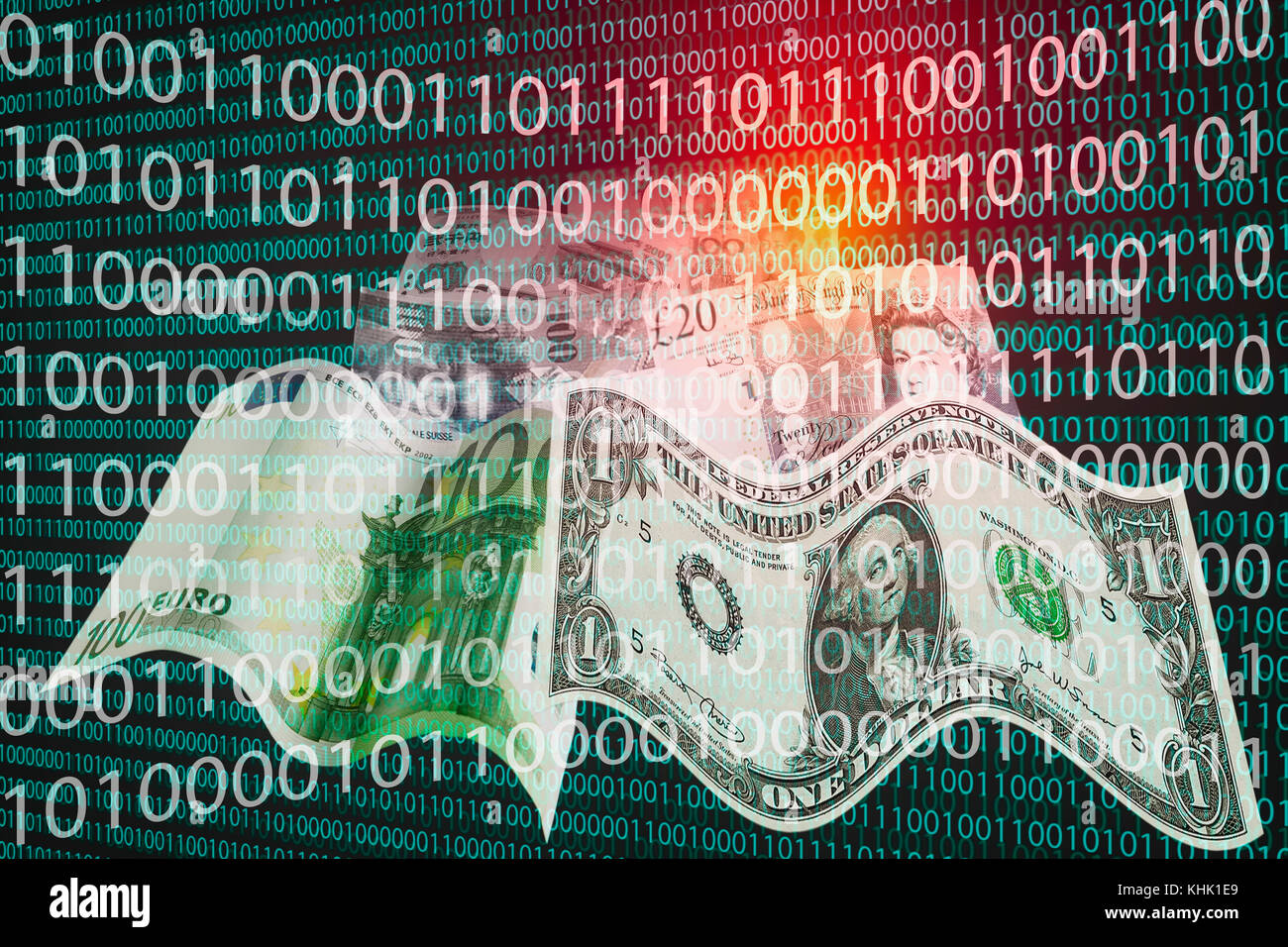 Binary code and banknotes of different currencies symbolizing cryptocurrencies as a new means of payment - Stock Image