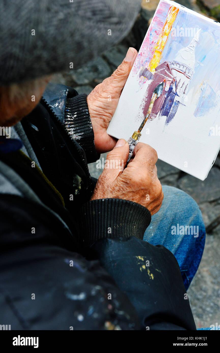 Painters artists, Place du tertre, Paris 18th, France - Stock Image
