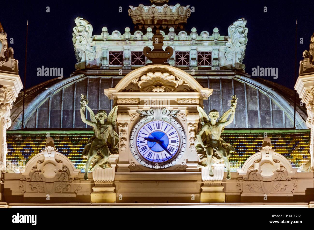 Europe. Principality of Monaco (98). Monte-Carlo. The casino. The clock. Detail - Stock Image