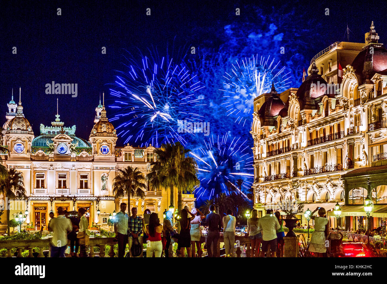 Europe. Principality of Monaco (98). Monte-Carlo. Fireworks front of the casino - Stock Image