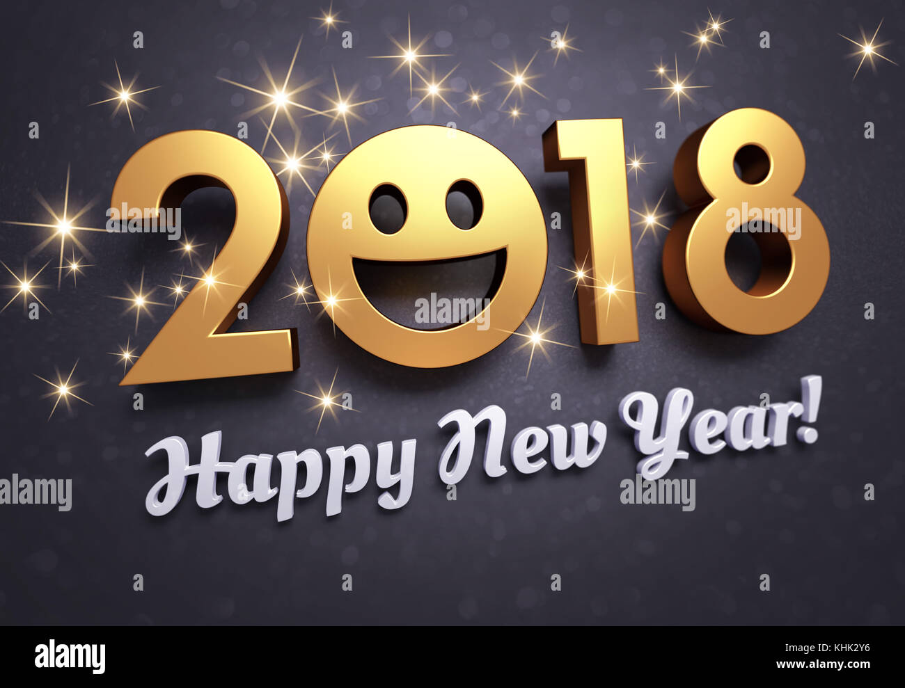 Joyful new year date 2018 greetings and smiling face on a stock joyful new year date 2018 greetings and smiling face on a glittering black background 3d illustration m4hsunfo