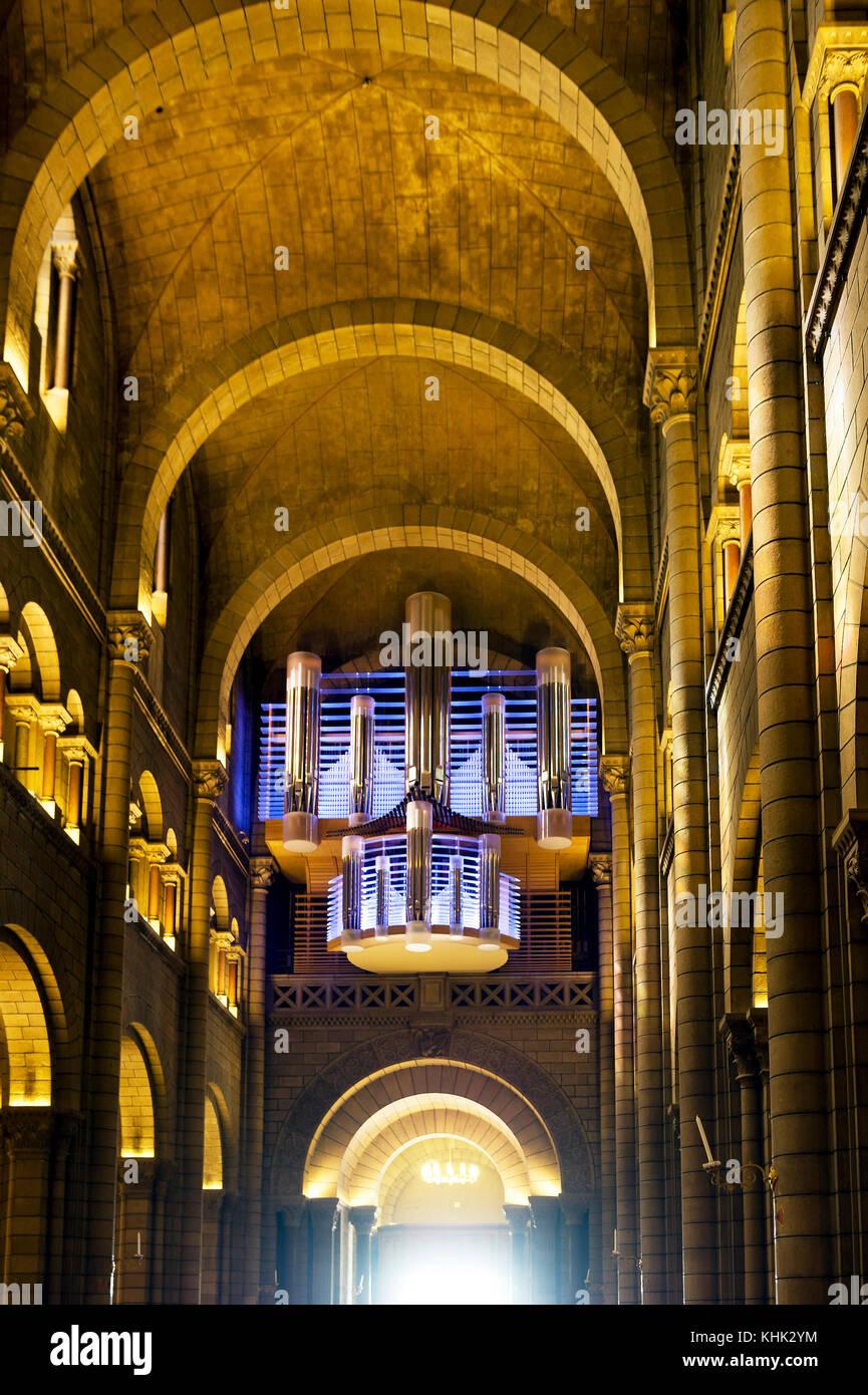 Principality of Monaco (98), Monte Carlo. Cathedral Saint Nicolas. The organ - Stock Image