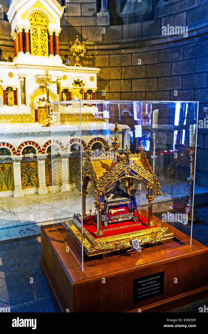 Principality of Monaco (98), Monte Carlo. Cathedral Saint Nicolas. The relic of Saint devote virgin and martyr, - Stock Image