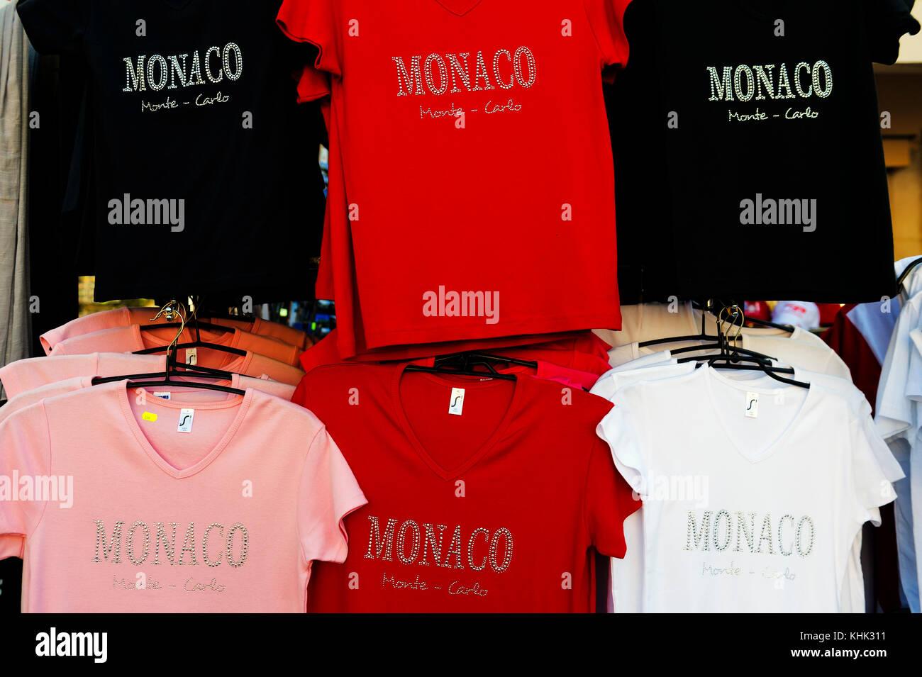 France. Principality of Monaco (98). Tee-shirt Monaco - Stock Image